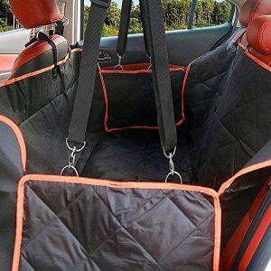 Grande housse de siège pour chien avec rabats latéraux - Hamac Coussin imperméable à l'arrière avec siège de voiture avec ancrages de siège pour voitures, camions et velo - Sans glissement, Machine Washabl Fragralley VUS - Non glissé, Fragralley lavab image 0 produit