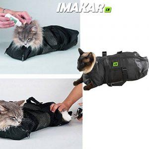 IMAKAR® Sac toilettage chat Multifonctions. Résistant avec Filet en Polyester au milieu, et 4 ouvertures pour les pattes, utilisable comme sac de transport chat, sac vétérinaire chat, ou sac lavage chat pour vous protéger en faisant la toilette de votre c image 0 produit