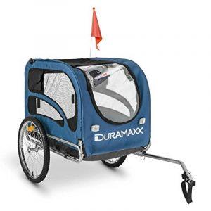 oneConcept King Rex Remorque à vélo pour transport d'animaux Attelage pour chien (contenance 250 L, charge maximale 40 kg, fanions, structure en acier) - bleu de la marque OneConcept image 0 produit