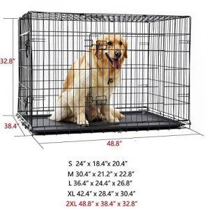 PAWZ Road Caisse pliante pour chien Cage pliante chien chenil pour animal de compagnie Cage avec 2 portes et plateau plastique Caisse chien pour coffre pour le gros chien 5 tailles completes (Taille:XXL) de la marque Pawz Road image 0 produit