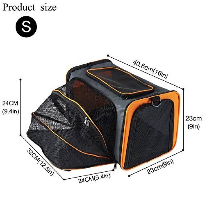 Petcomer Extensible de Voyage Pliable Confortable Soft-Sided Sacs de Transport  pour Chiens et Autres Animaux, Grand Transporteur De Chats (S, Orange) de  la ... 5737982c7334