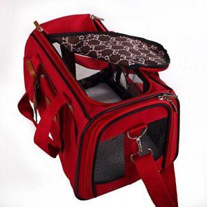 Rouge et souple de côté, sac de voyage accepté par les compagnies aériennes pour transporter les animaux domestiques, sac de transport portable pour chiens, chats et chiots de la marque hanhefen image 0 produit
