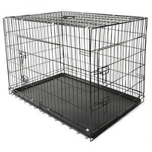 TRESKO® Cage de transport pliable pour Chiens, Chats, Chiots, Chatons et Animaux domestique, Caisse de transport en métal, Cage chien, Caisse de transport pour la voiture, Bac en plastique amovible, Cages à lapin, Cages pour rongeurs, Cabane à lapins, Lap image 0 produit