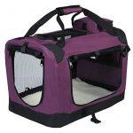WOLTU HT2026vl Sac de transport en Oxford pour animal,Caisse de transport pliable pour chien,chenil de chien exterieur,Taille M 60x42x42cm,Violet de la marque Woltu image 2 produit