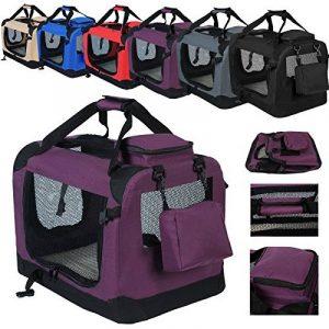 WOLTU HT2026vl Sac de transport en Oxford pour animal,Caisse de transport pliable pour chien,chenil de chien exterieur,Taille M 60x42x42cm,Violet de la marque Woltu image 0 produit