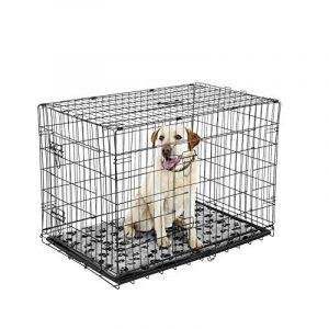 Cage caisse de transport chien pliable fil d'acier 2 portes avec coussin poignée 91L x 61l x 67Hcm noir neuf 33 de la marque Pawhut image 0 produit