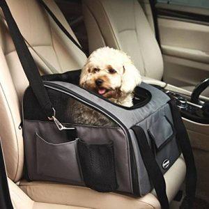 Sacs de Transport gris foncé sur la banquette arrière dans la voiture pliable pour animal domestique chats chiens de la marque BabycarePro image 0 produit