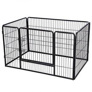 Songmics Parc pour chien enclos en fer pour animaux de compagnie amovible et transportable noir PPK74H de la marque Songmics image 0 produit