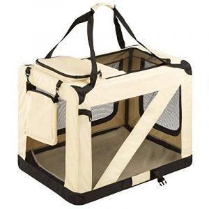 TecTake Cage sac box caisse de transport pour chien chat mobile XL pliable beige 80x55x58cm de la marque TecTake image 0 produit