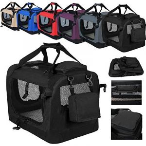 WOLTU HT2026sz Oxford Cage pour chien,Caisse de transport pliable pour chien,Taille M environ 60x42x42cm,Noir de la marque Woltu image 0 produit