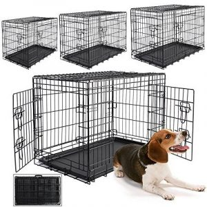 WOLTU HT2030m2 cage de transport pliable pour chiens ,Caisse de transport pour Chien,cage pour animaux,chats cage,métal,taille L,91,5x58x63,5cm de la marque Woltu image 0 produit